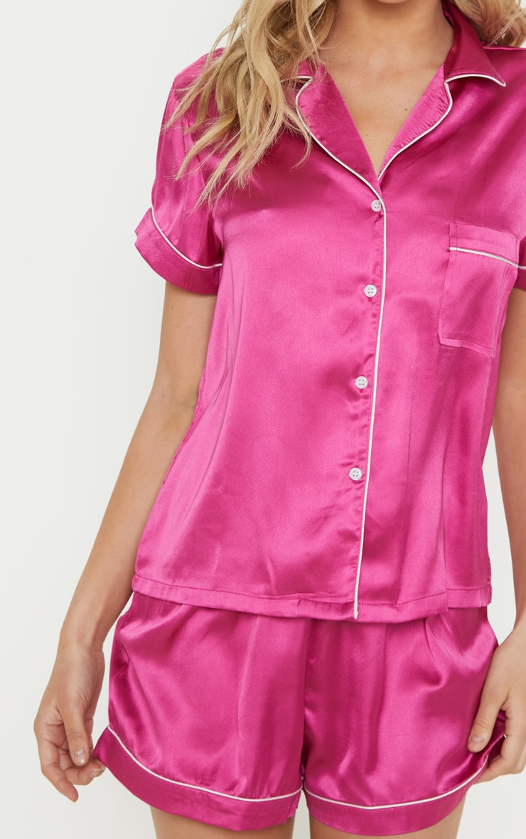 Fuchsia Short Satin PJ Set 5