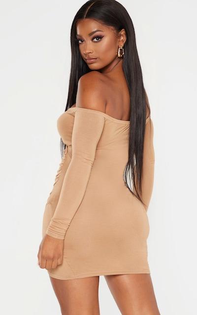 Shape Camel Jersey Ruched Bardot Shoulder Bodycon Dress