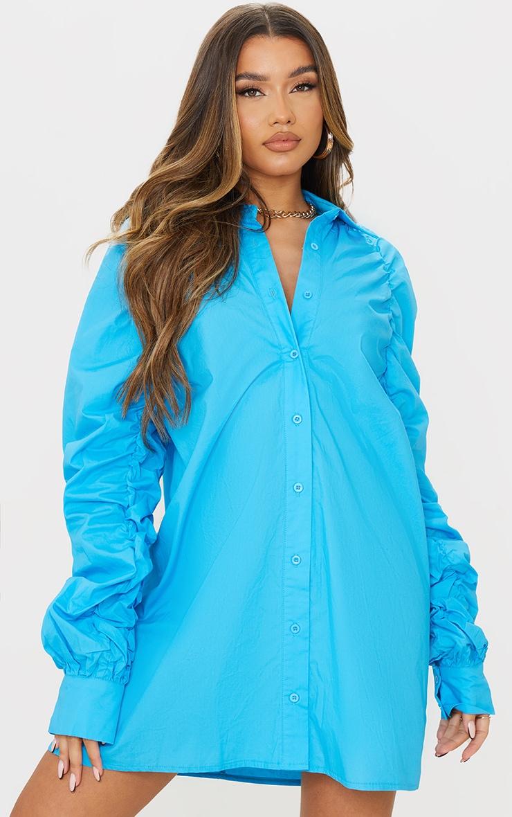 Blue Ruched Sleeve Detail Oversized Shirt Dress image 1