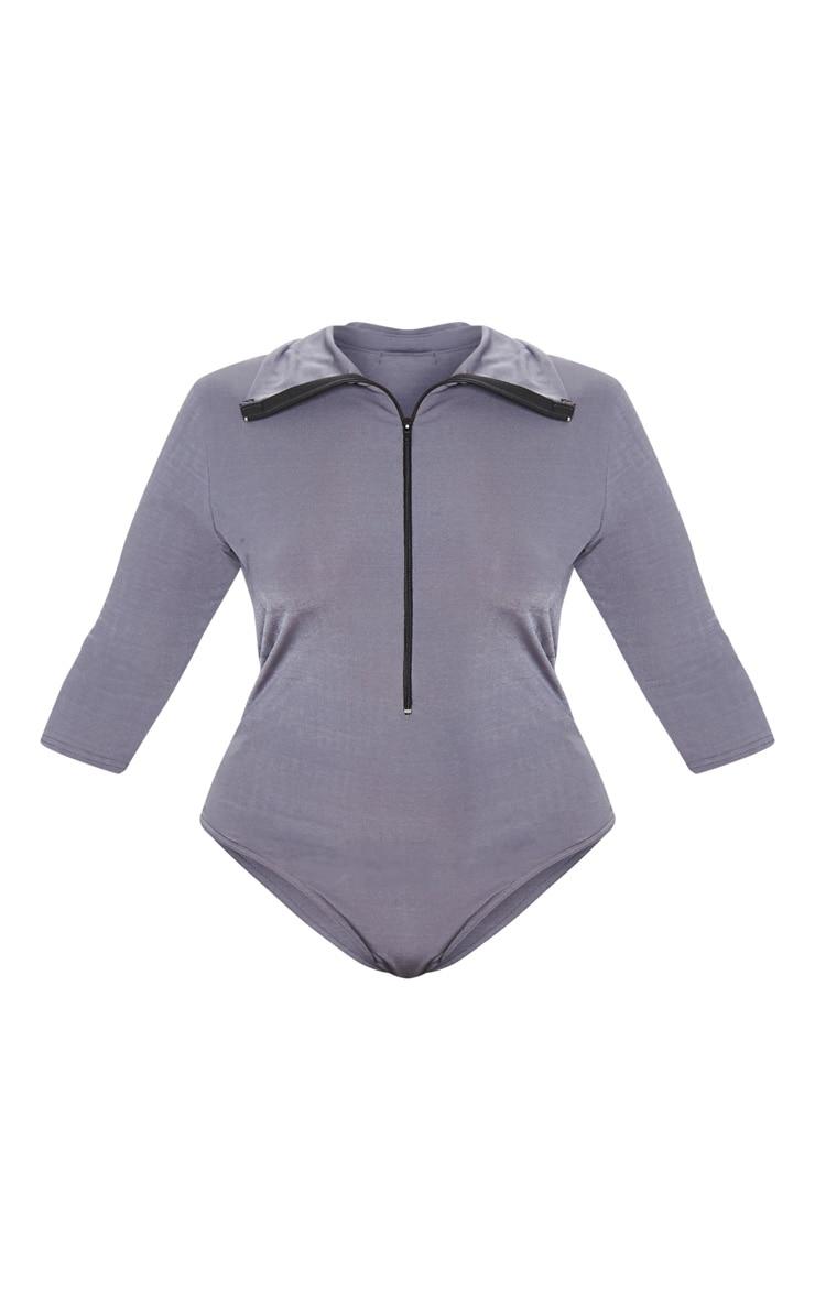 Plus Charcoal Zip Front Funnel Neck Bodysuit 3
