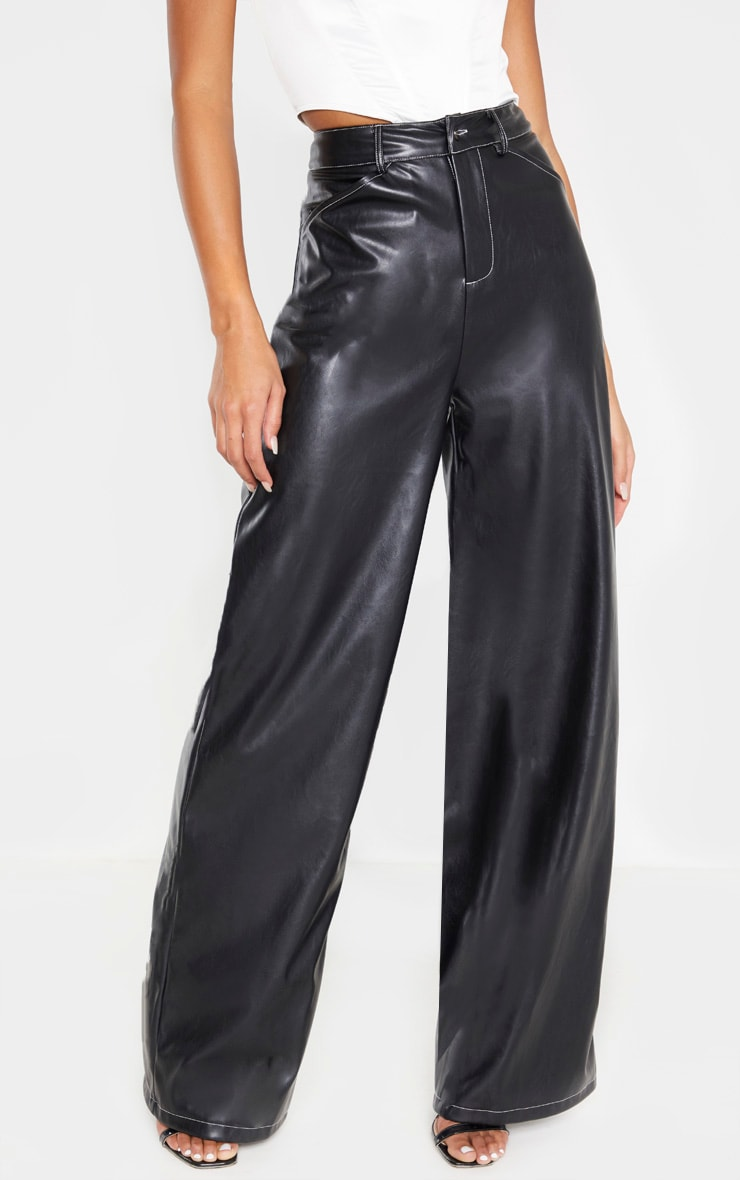 Black Faux Leather Contrast Stitch Wide Leg Pants  2