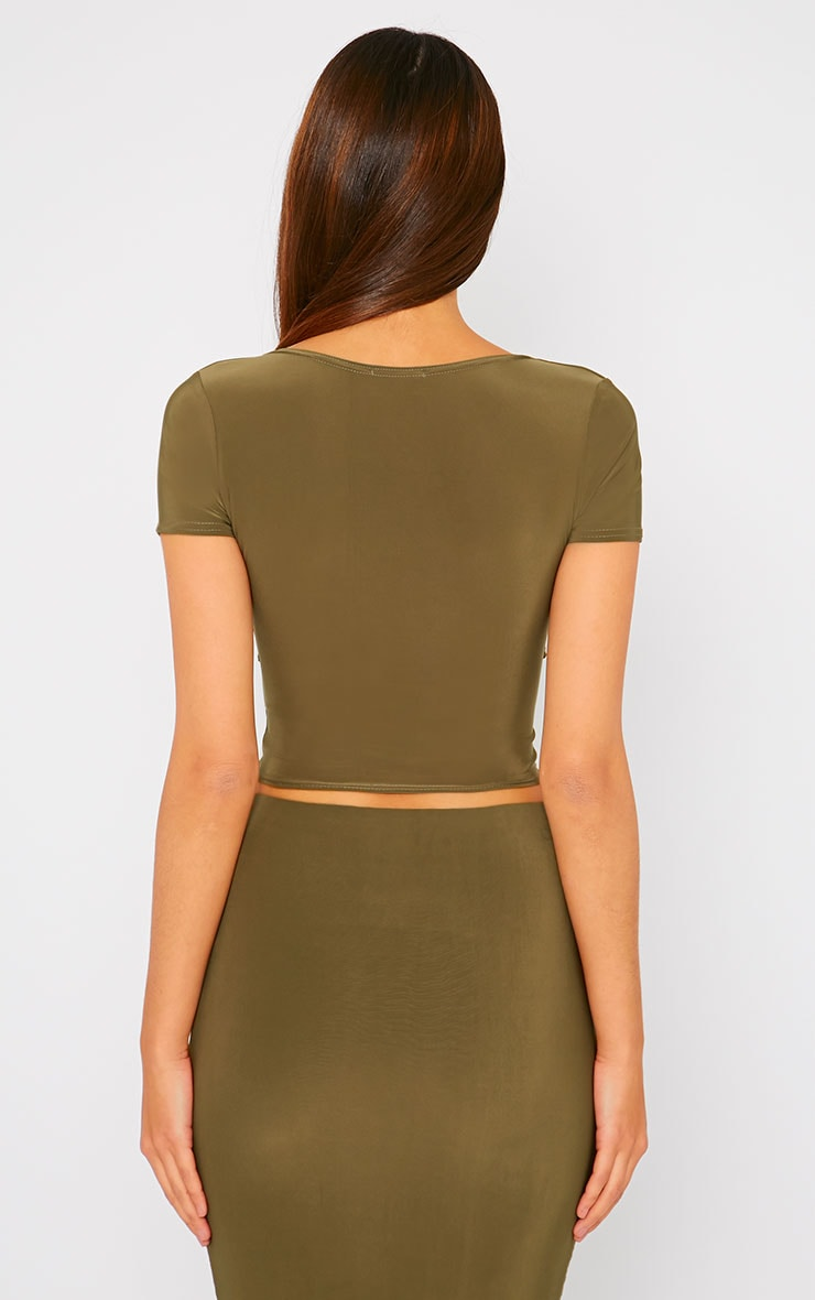 Arabella Khaki Slinky Cross Over Crop Top 2