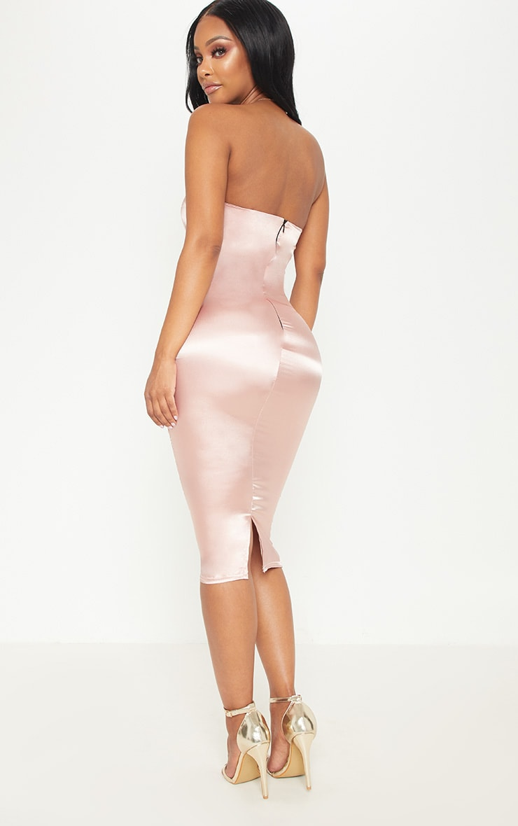 Shape Rose Satin Bandeau Midi Dress 2