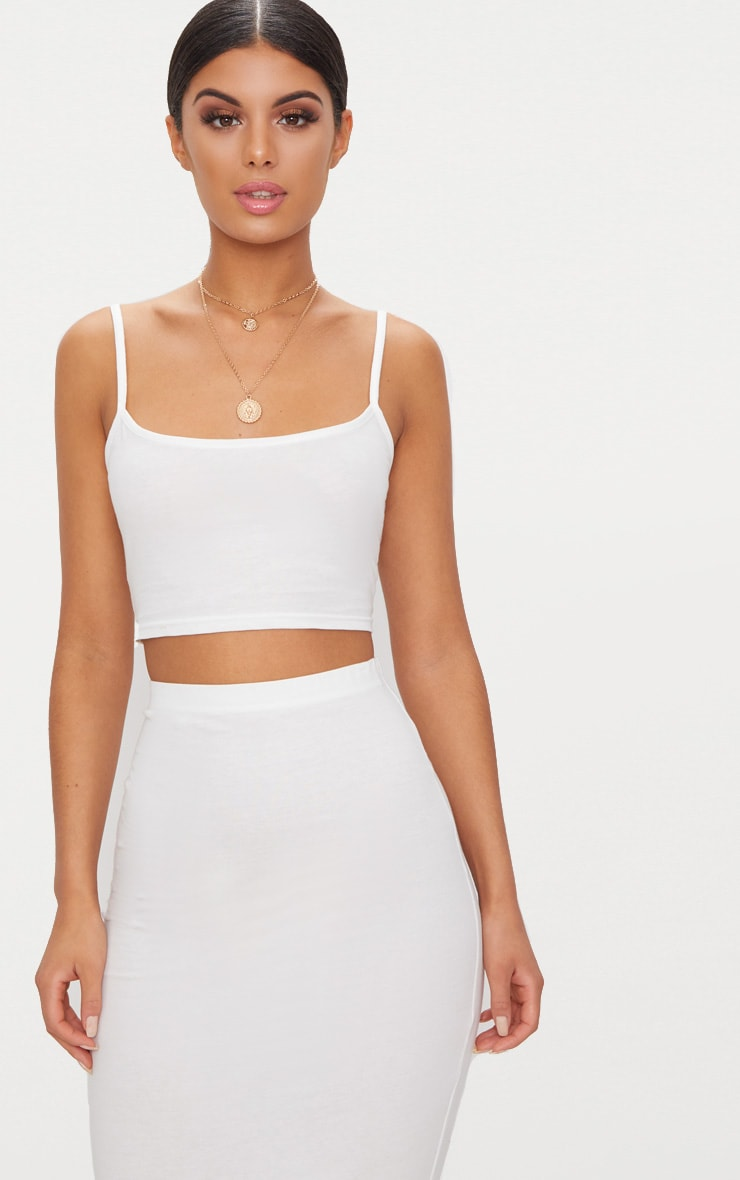 Cream Jersey Strappy Crop Top 1