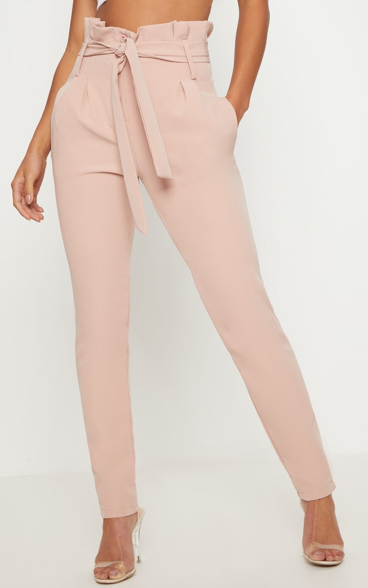 Petite Blush Paperbag Waist Trousers 2