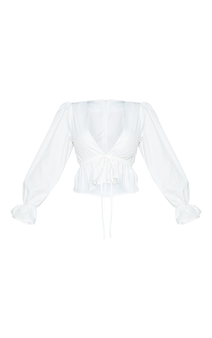 Petite White Plunged Long Sleeve Blouse 5