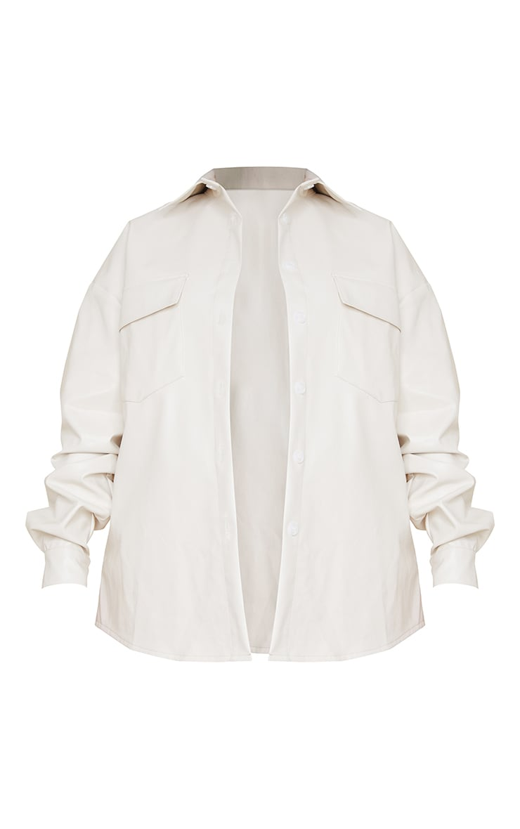 Maternity Cream Faux Leather Pocket Detail Shirt 5