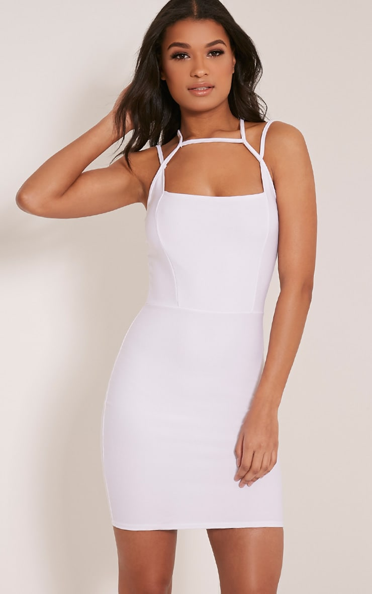 Maden White Strappy Detail Bodycon Dress 1
