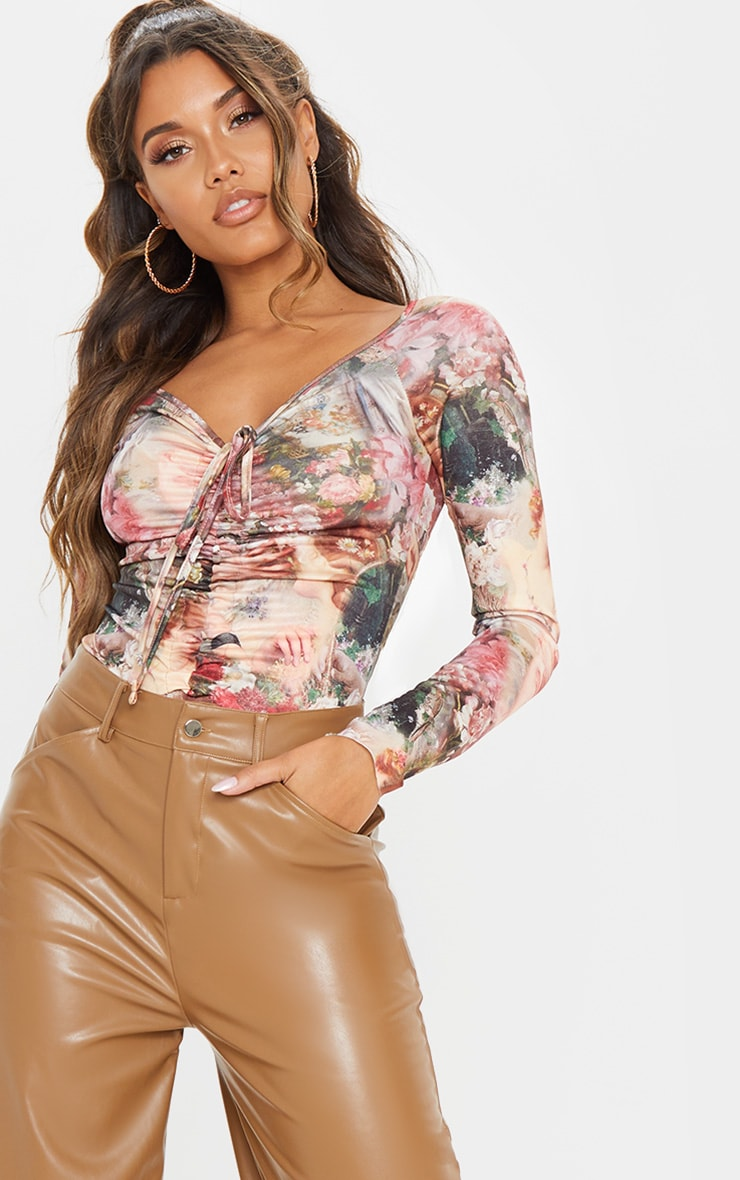 Multi Renaissance Printed Ruched Front Long Sleeve Bodysuit 6