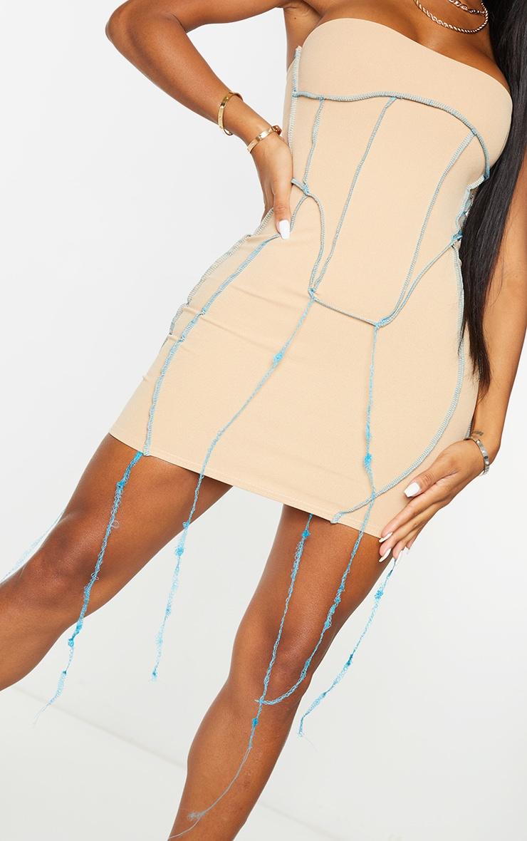 Shape Stone Overlock Seam Corset Detail Bodycon Dress 5
