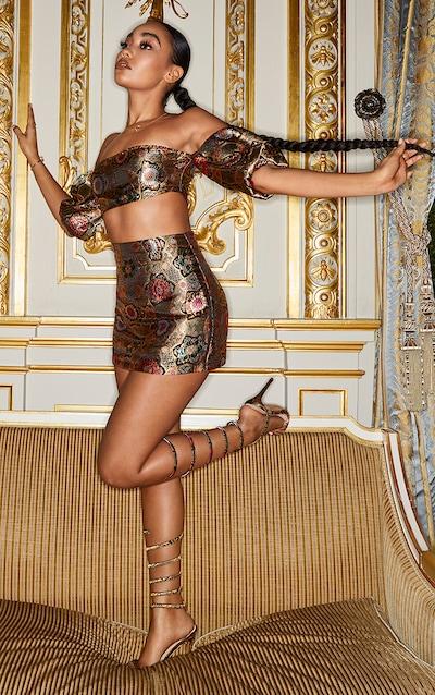 Gold Jacquard Bodycon Skirt