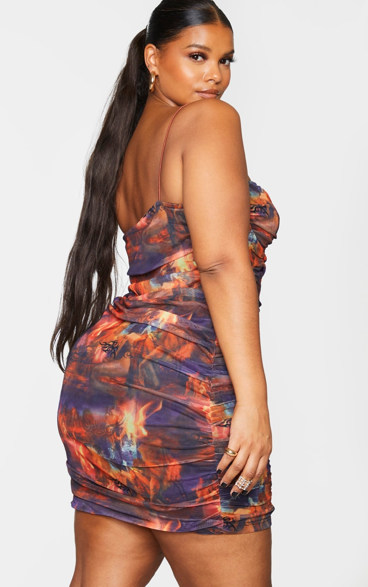 Plus Red Flame Print Ruched Mesh Cup Detail Bodycon Dress 2