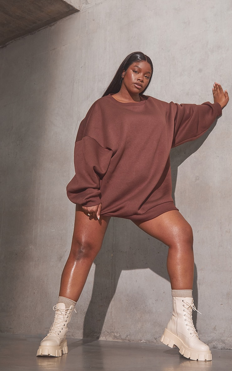 RENEW Plus Chocolate Oversized Sweat Jumper Dress 3