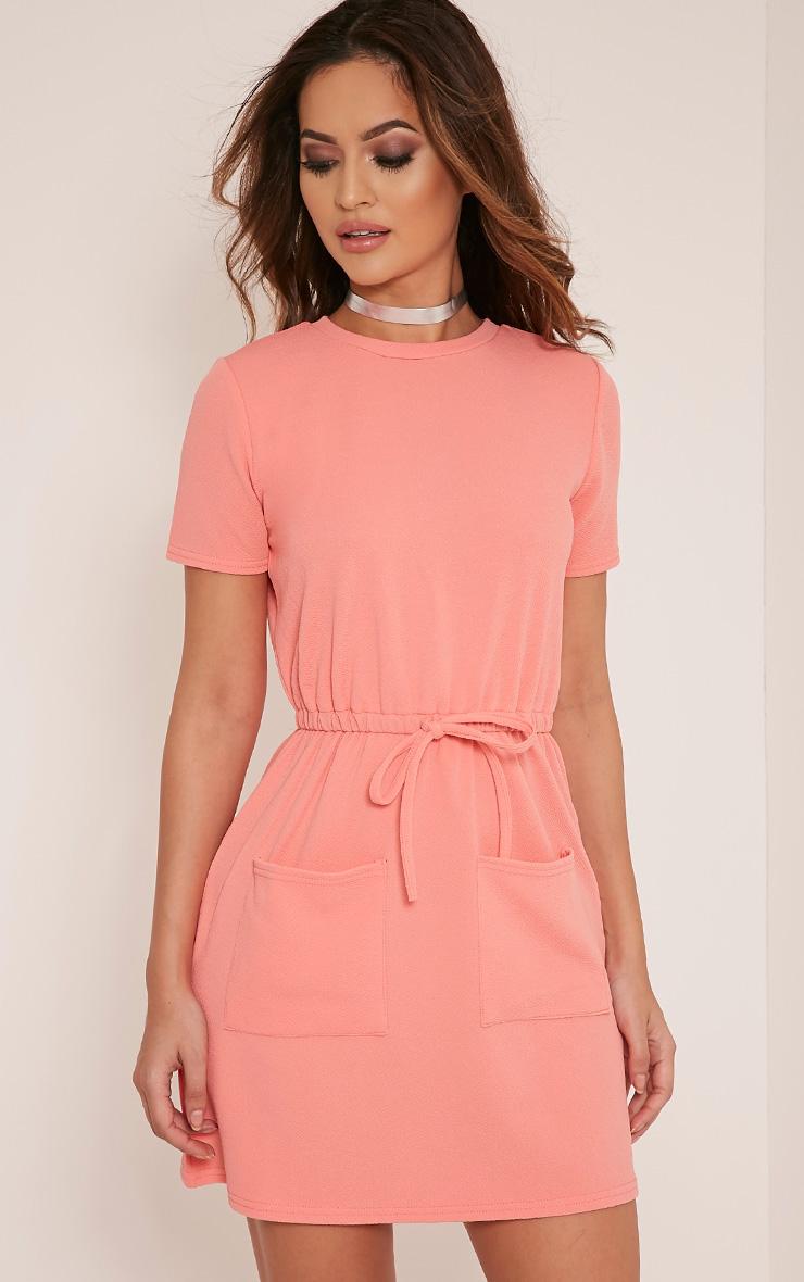 Erin Coral Tie Waist T Shirt Dress 1