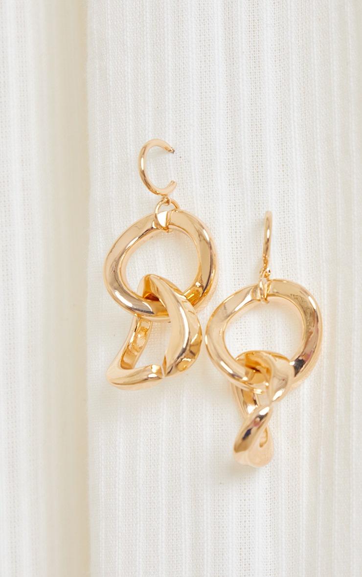 Gold Chunky Chains Hoop Earrings 2