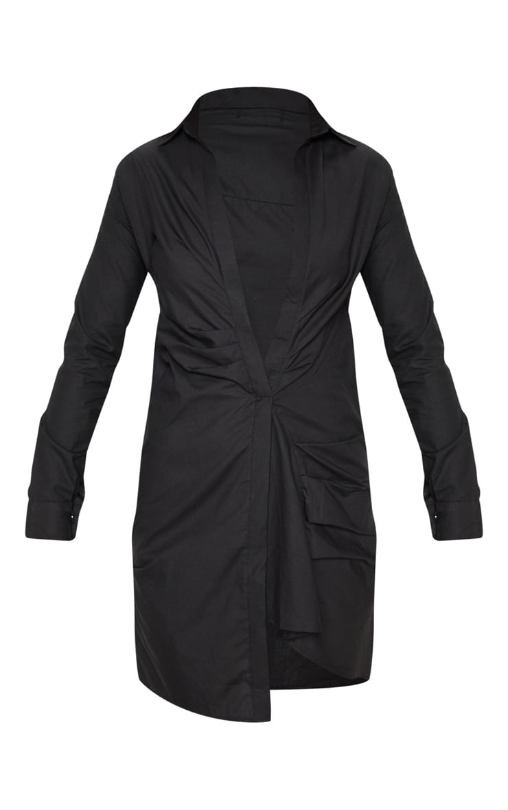 Black Ruched Front Shirt Dress 3