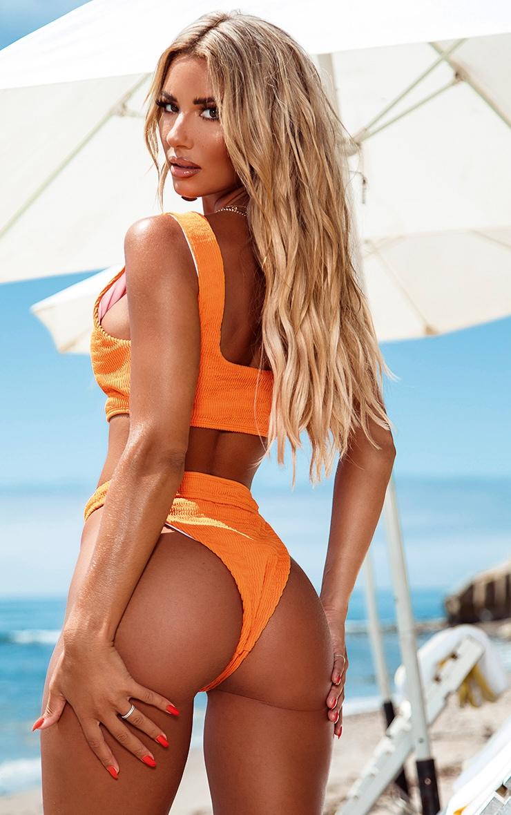 Orange Crinkle Button Down Scoop Bikini Top 2