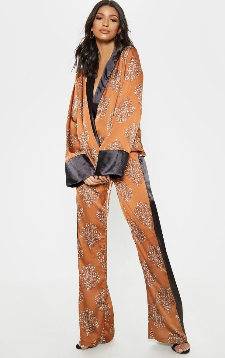 Rust Satin Paisley Print Contrast Stripe Wide Leg Trouser 1