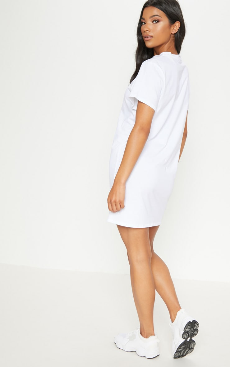 White Be Nice Embroidered T Shirt Dress 2
