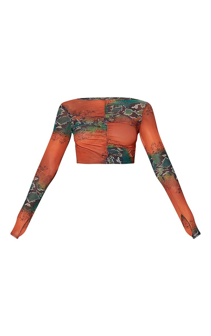 Orange Mesh Snake Print Ruched Front Long Sleeve Crop Top 5