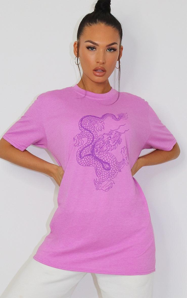 Lilac Contrast Dragon Print T Shirt 1