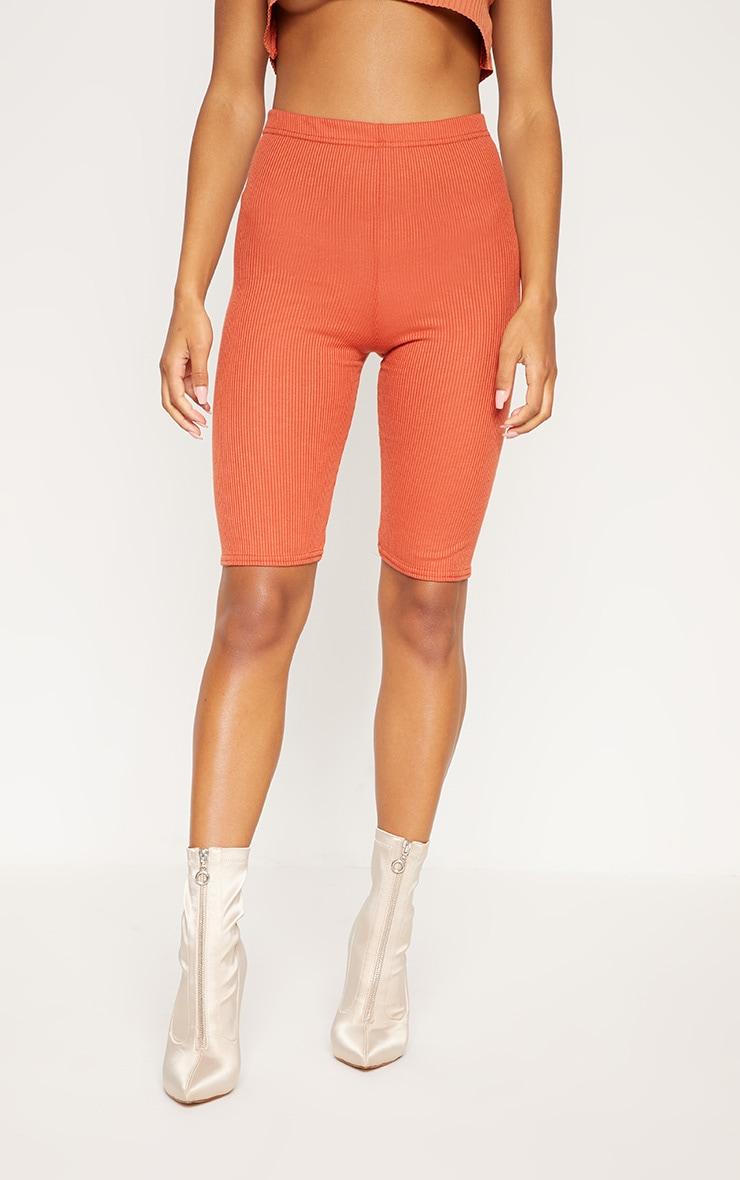 short legging c tel long orange fonc shorts prettylittlething fr. Black Bedroom Furniture Sets. Home Design Ideas