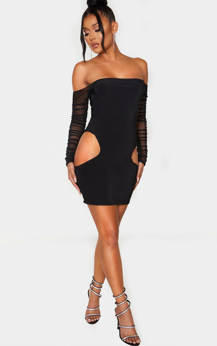 Black Slinky Extreme Cut Out Mesh Sleeve Bodycon Dress 4