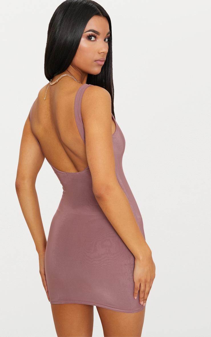 Dark Mauve Second Skin Slinky Scoop Neck Bodycon Dress 2