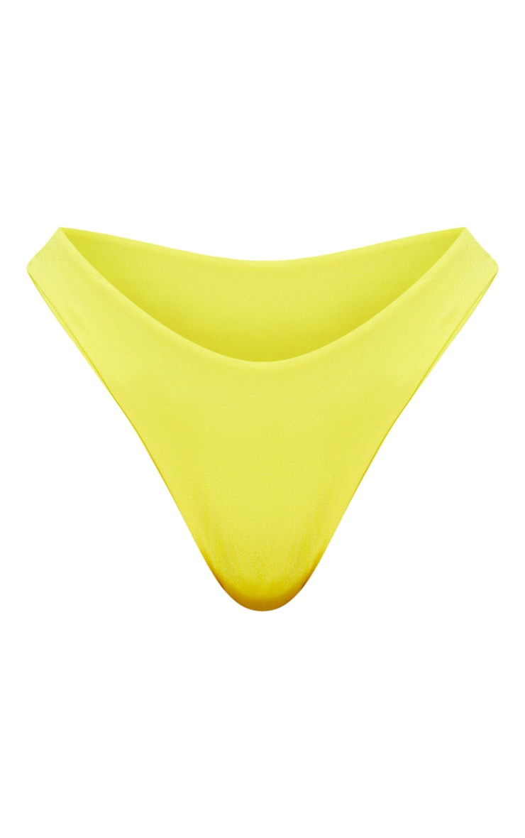 Yellow Mix & Match V Front Brazilian Thong Bikini Bottom 3
