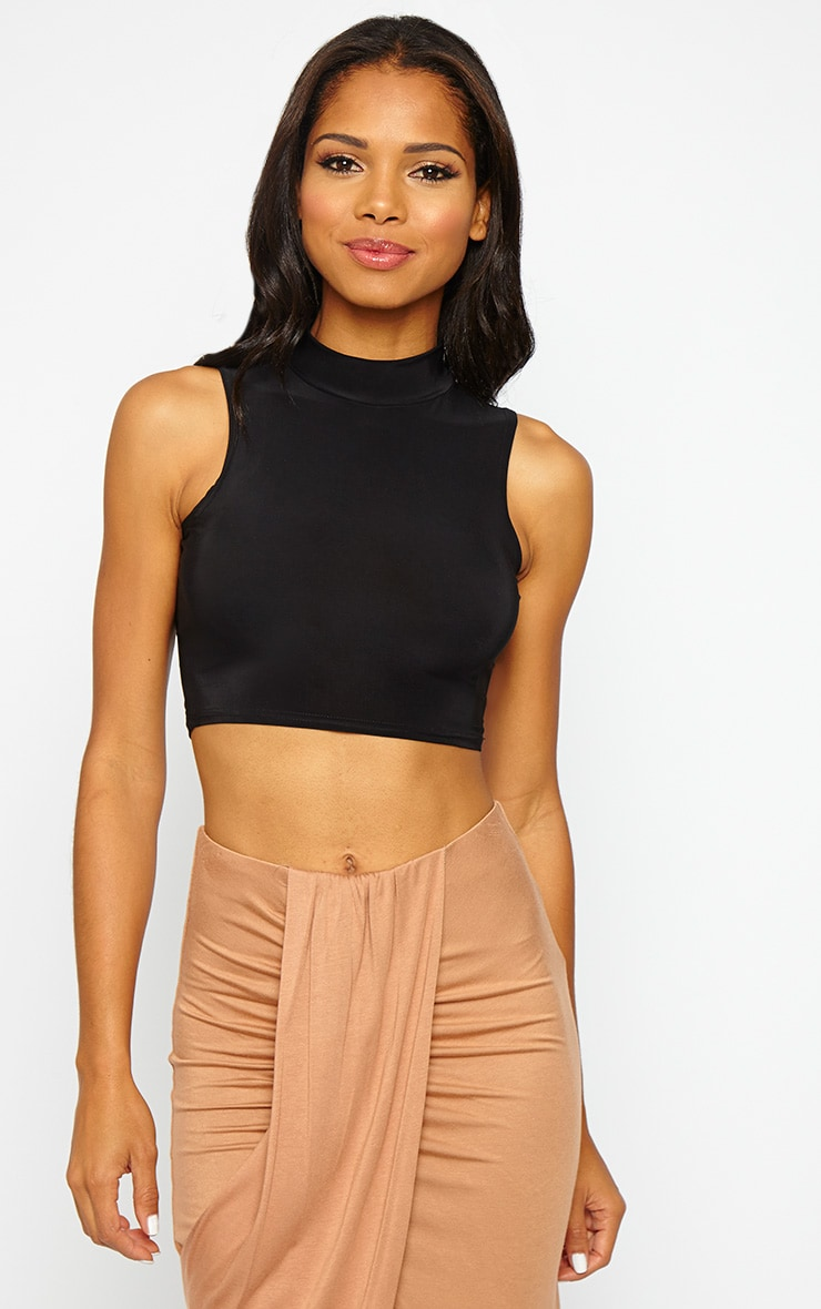 Saylor Black Sleeveless Slinky Crop Top 1