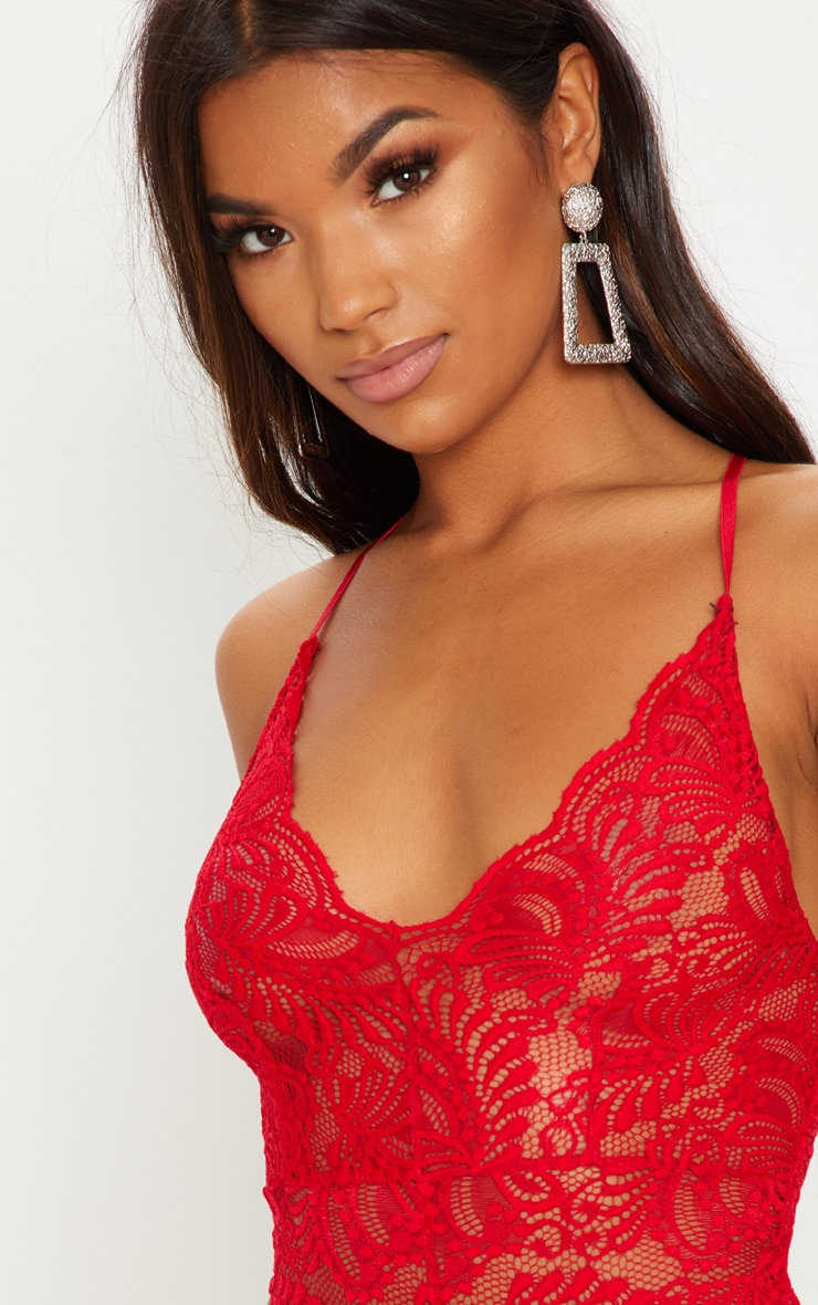 Lucille Red Sheer Lace Cross Back Bodysuit 6