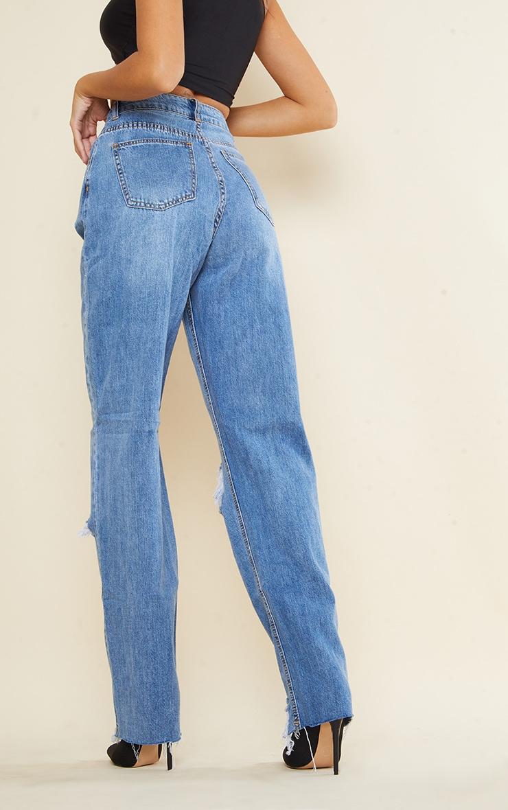 PRETTYLITTLETHING Tall Light Blue Wash Extreme Ripped Hem Boyfriend Denim Jeans 3