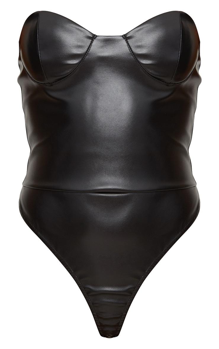 Black PU Bustier Strapless Bodysuit 3