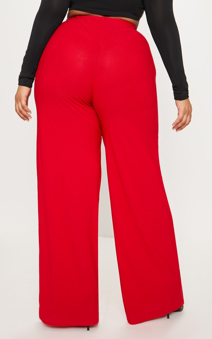 Plus Red High Waisted Wide Leg Trousers 4