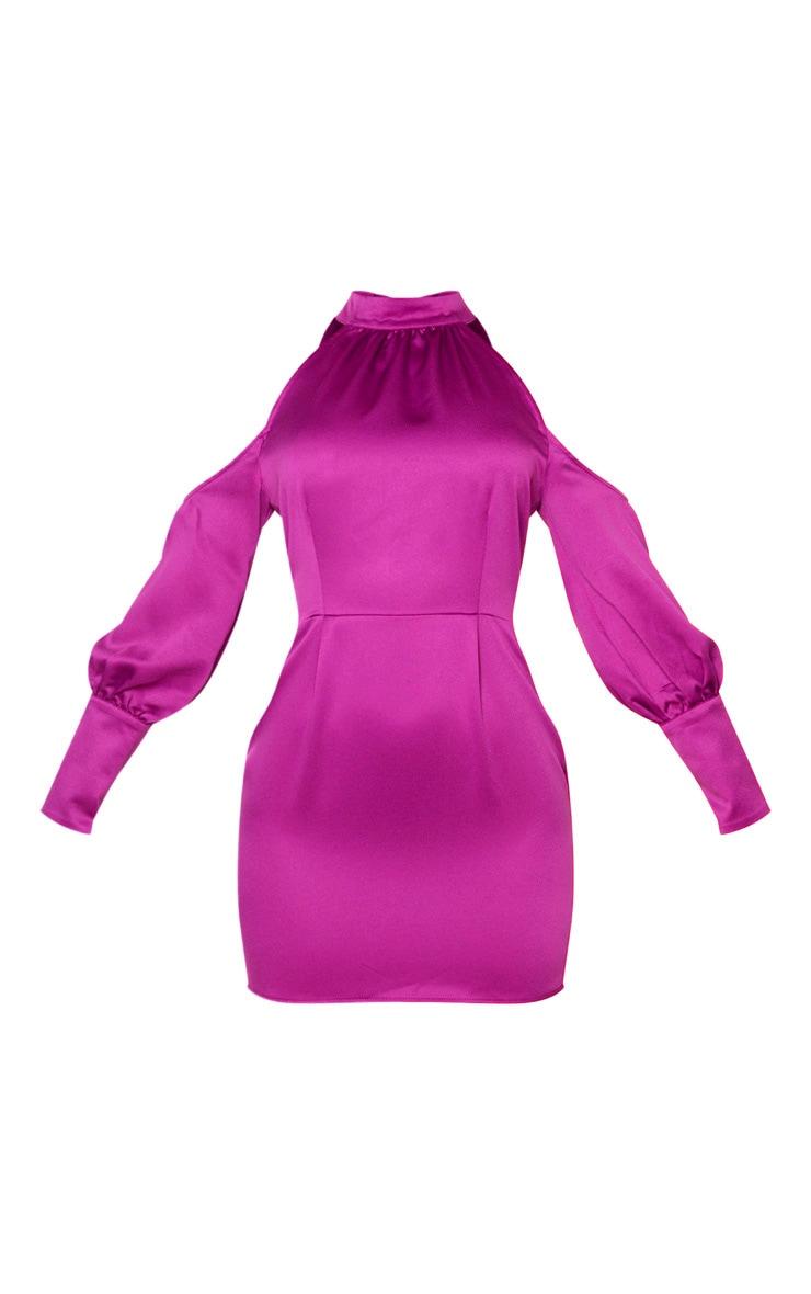 Purple Satin High Neck Cold Shoulder Bodycon Dress 3