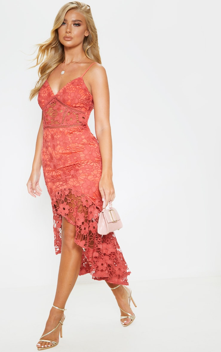 Rust Lace Strappy Frill Hem Midi Dress 4
