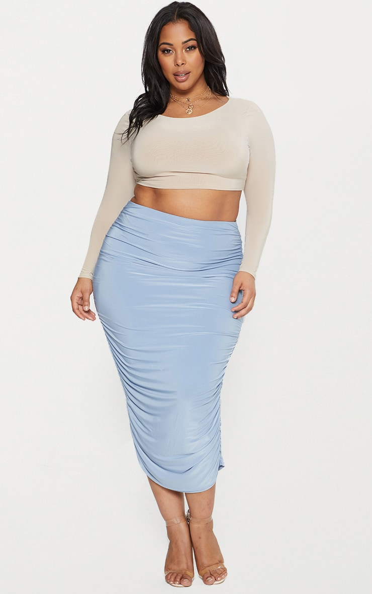 Plus Stone Second Skin Long Sleeve Wide Neck Crop Top 4