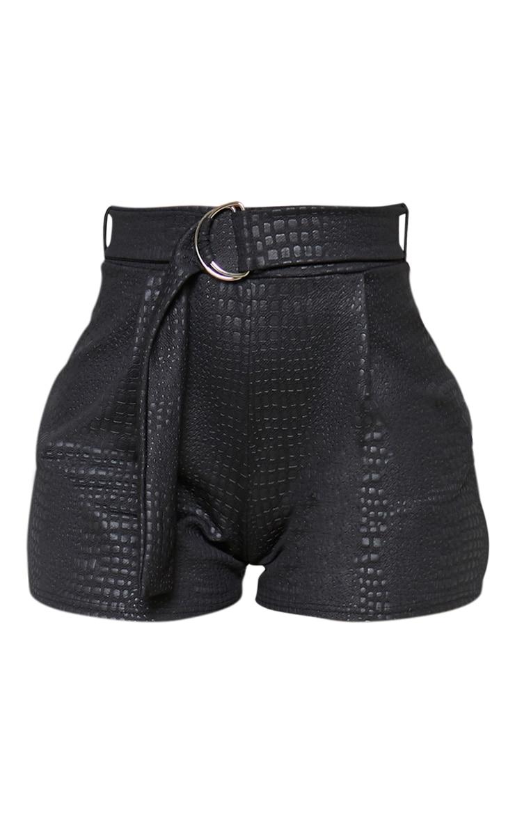 Black Croc Print D Ring Belted Short 3