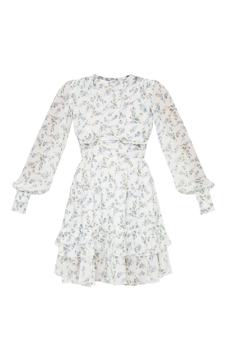 Petite Blue Floral Underbust Long Sleeve Dress 5