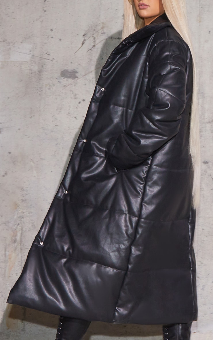 Black Faux Leather Padded Panel Maxi Puffer 4