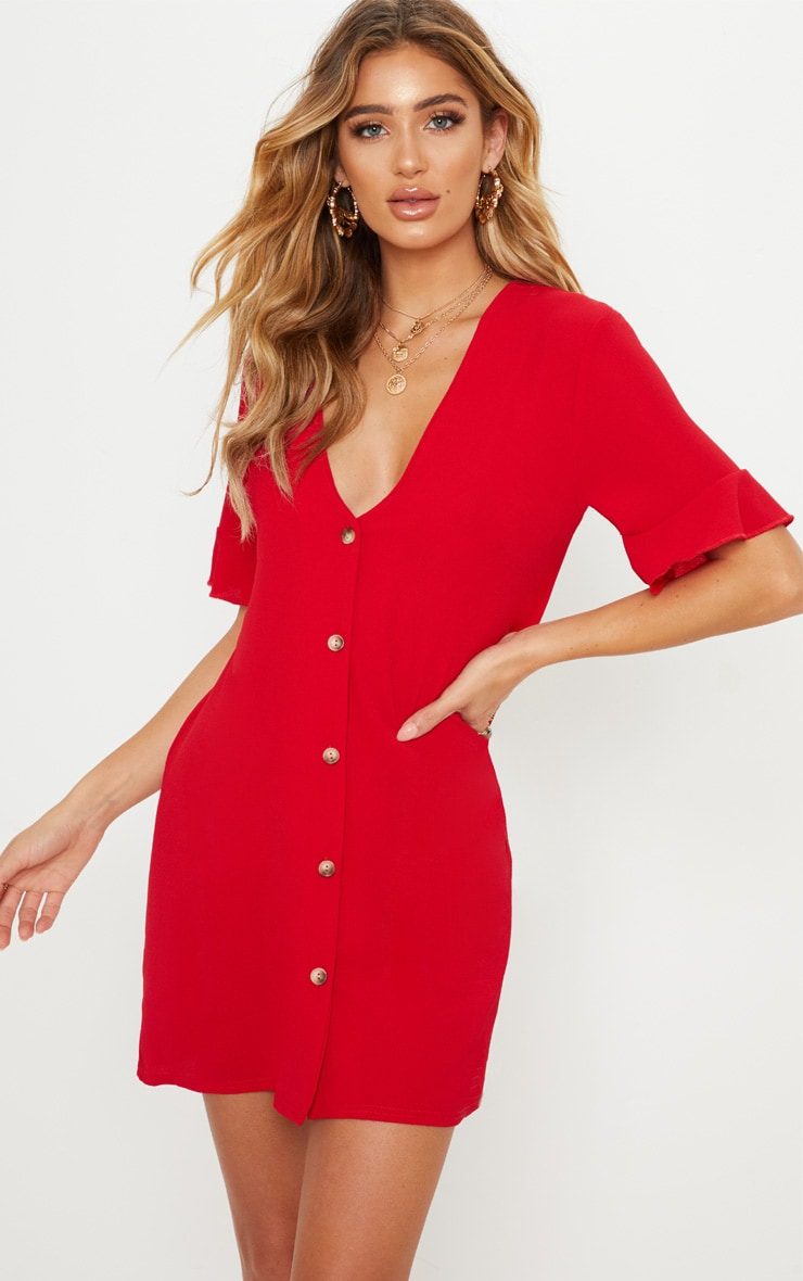 Red Oversized Button Front Shirt Dress 1