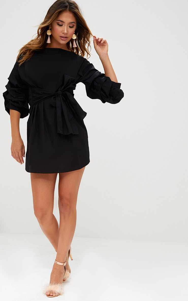 Black Oversized Ruffle Sleeve Shift Dress 4