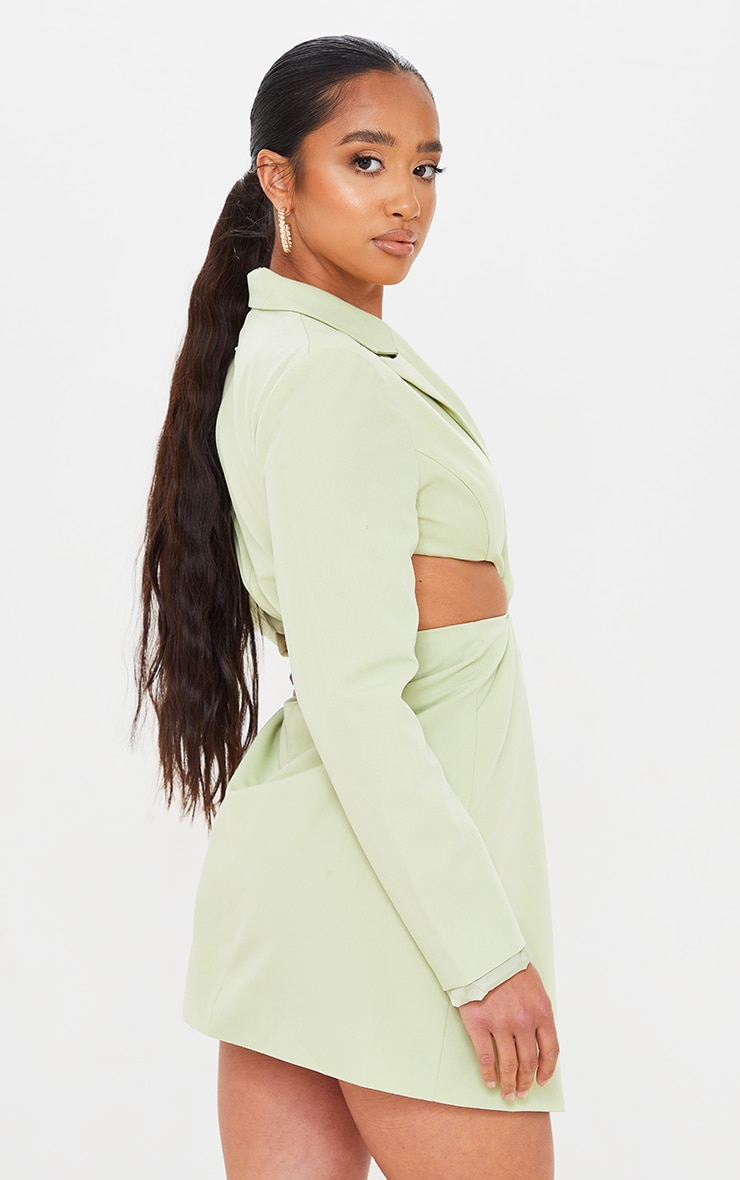 Petite Sage Green Twist Front Cut Out Blazer Dress 2
