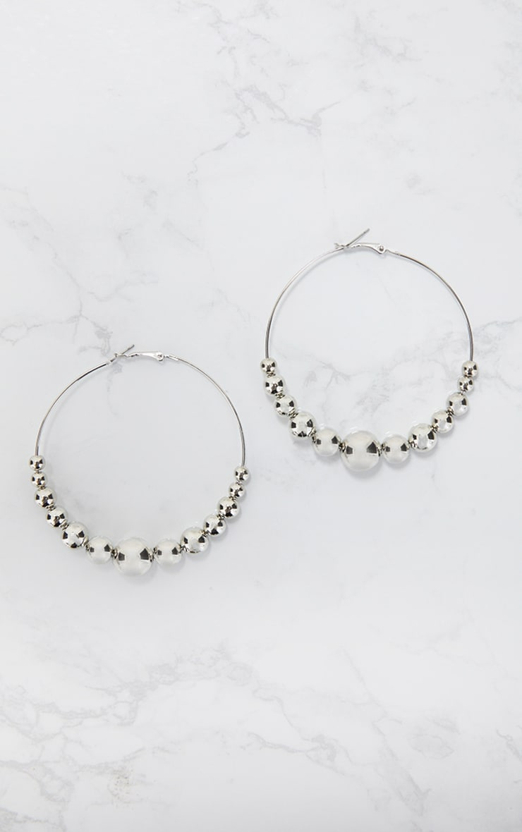 Silver Ball Detail Hoop Earrings 3