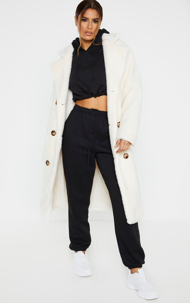 Tall Cream Borg Midi Coat 1