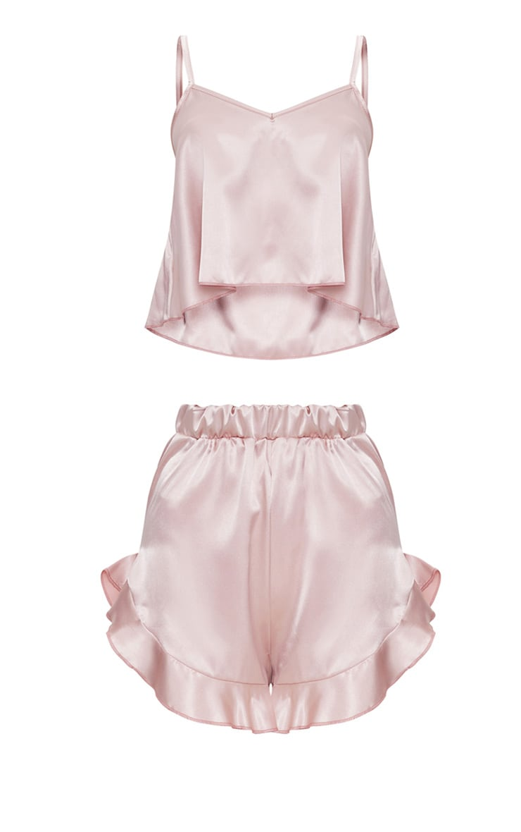 Dusty Pink Strappy Frill Detail Satin PJ Set  3