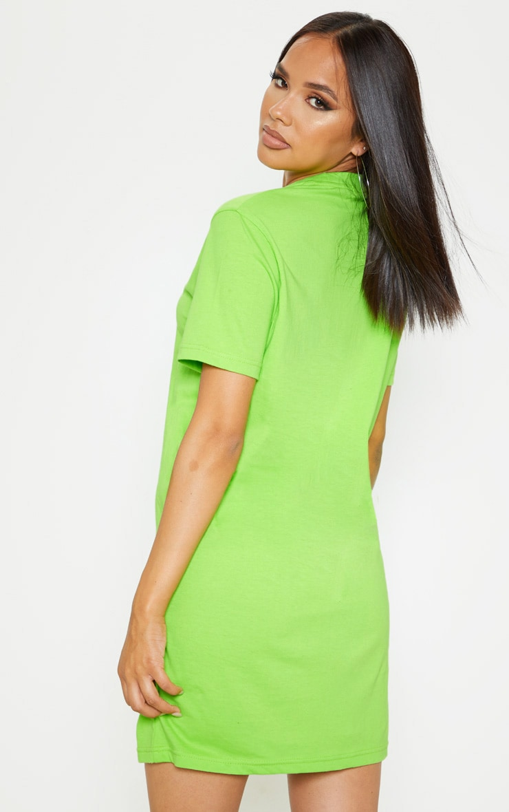Neon Lime Lies Slogan Embroidered Oversized T Shirt Dress  2