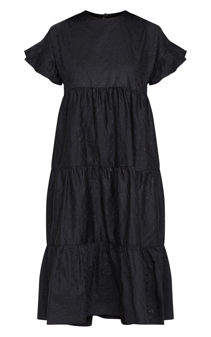 Black Broderie Anglaise Tiered Smock Midi Dress 5