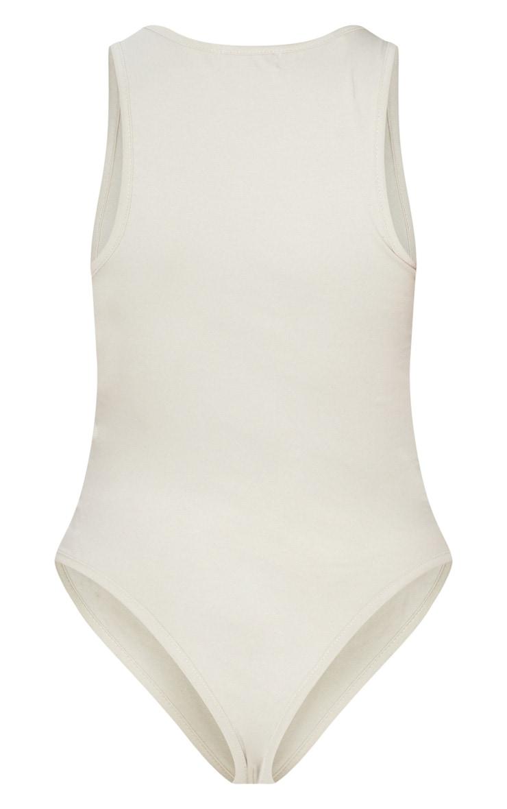 Petite Oatmeal Racer Cotton Sleeveless Bodysuit 4