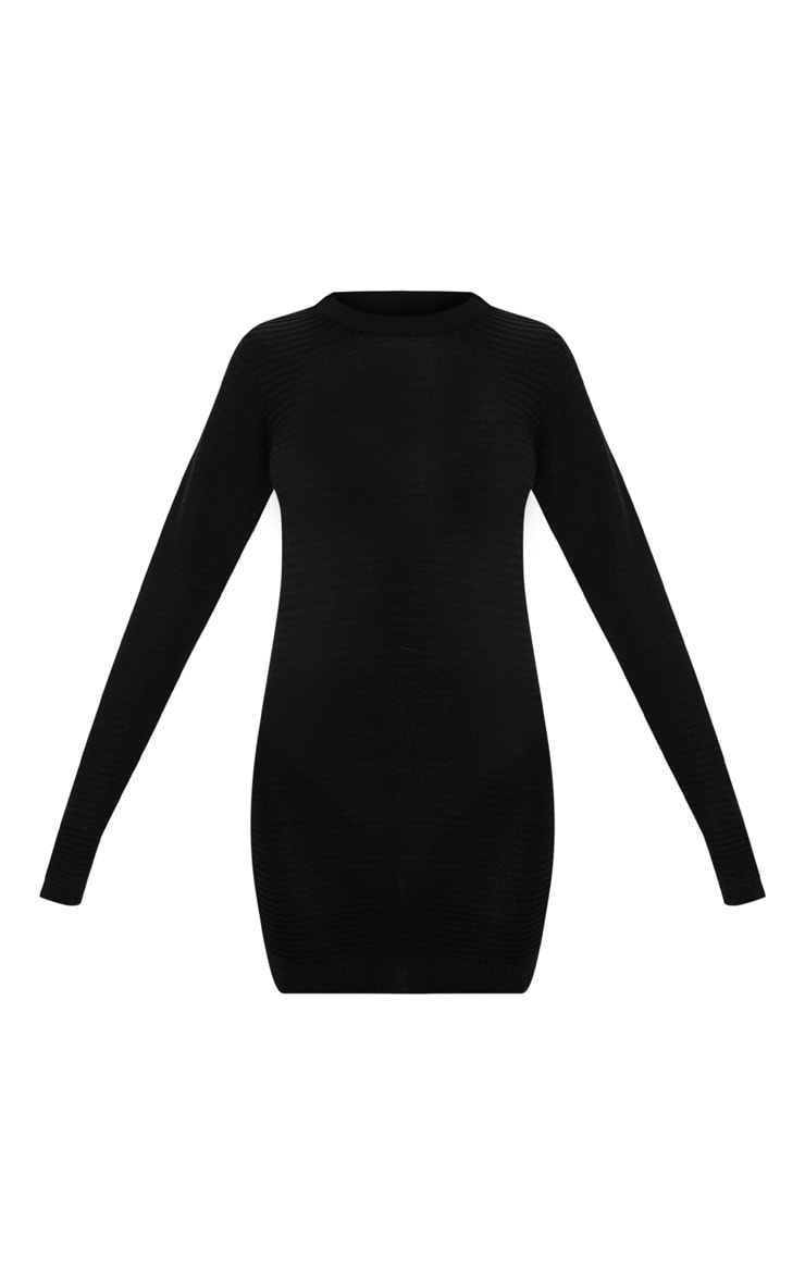 Black Fine Knit Sweater Dress 3